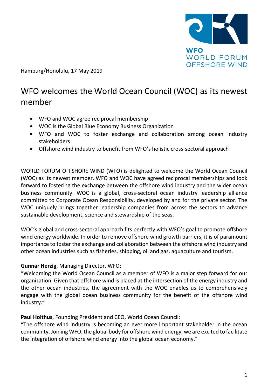 WFO – Press release 17/05/2019