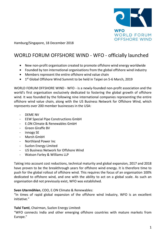 WFO – Press release 18/12/2018